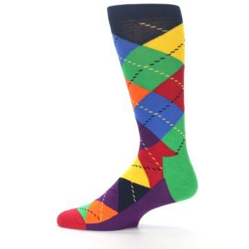 Image of Bright Multi Argyle Men's Dress Socks (side-2-12)