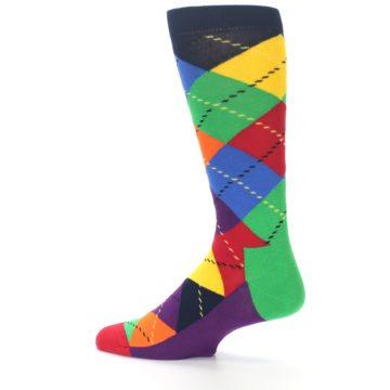 Image of Bright Multi Argyle Men's Dress Socks (side-2-13)