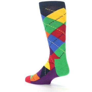 Image of Bright Multi Argyle Men's Dress Socks (side-2-back-14)