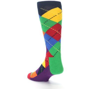 Image of Bright Multi Argyle Men's Dress Socks (side-2-back-15)