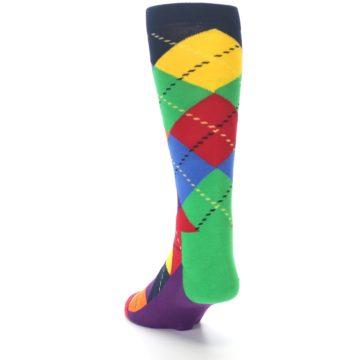 Image of Bright Multi Argyle Men's Dress Socks (side-2-back-16)