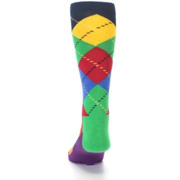 Image of Bright Multi Argyle Men's Dress Socks (back-17)