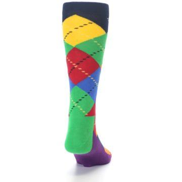 Image of Bright Multi Argyle Men's Dress Socks (back-19)