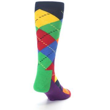 Image of Bright Multi Argyle Men's Dress Socks (side-1-back-20)