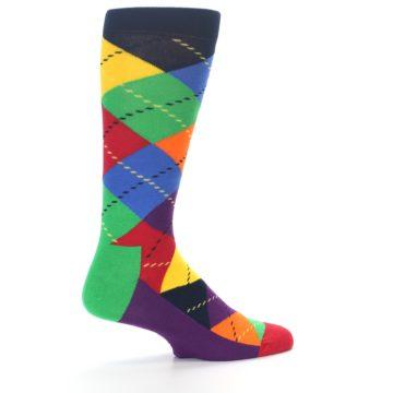 Image of Bright Multi Argyle Men's Dress Socks (side-1-23)