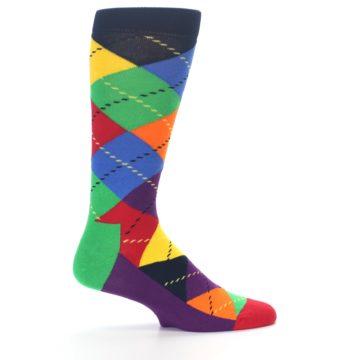 Image of Bright Multi Argyle Men's Dress Socks (side-1-24)