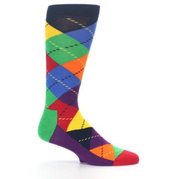 Image of Bright Multi Argyle Men's Dress Socks (side-1-25)