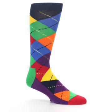 Image of Bright Multi Argyle Men's Dress Socks (side-1-26)