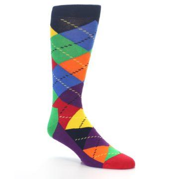 Image of Bright Multi Argyle Men's Dress Socks (side-1-27)