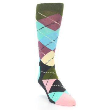 Image of Pastel Argyle Men's Dress Socks (side-1-front-02)