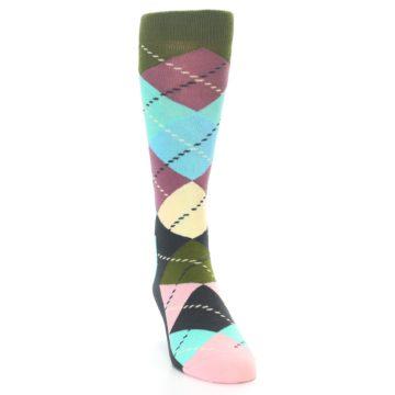 Image of Pastel Argyle Men's Dress Socks (side-1-front-03)