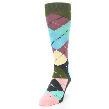 Image of Pastel Argyle Men's Dress Socks (side-2-front-06)