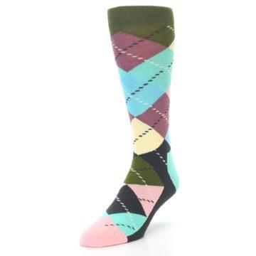 Image of Pastel Argyle Men's Dress Socks (side-2-front-07)