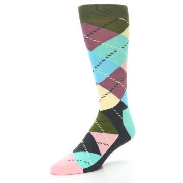 Image of Pastel Argyle Men's Dress Socks (side-2-front-08)
