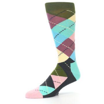 Image of Pastel Argyle Men's Dress Socks (side-2-09)