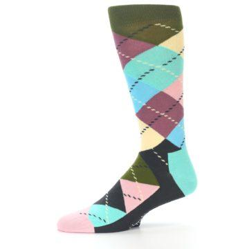 Image of Pastel Argyle Men's Dress Socks (side-2-10)