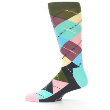 Image of Pastel Argyle Men's Dress Socks (side-2-11)