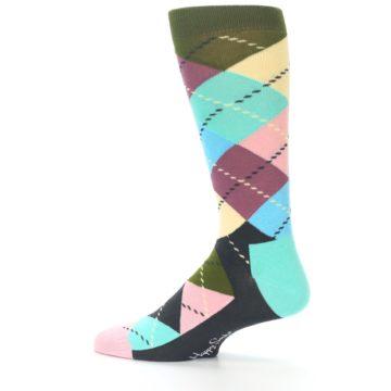 Image of Pastel Argyle Men's Dress Socks (side-2-12)