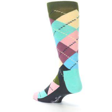 Image of Pastel Argyle Men's Dress Socks (side-2-back-14)