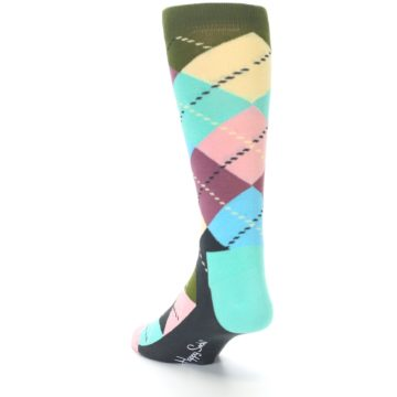 Image of Pastel Argyle Men's Dress Socks (side-2-back-15)