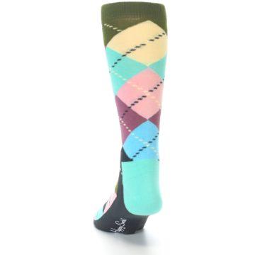 Image of Pastel Argyle Men's Dress Socks (side-2-back-16)