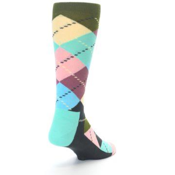 Image of Pastel Argyle Men's Dress Socks (side-1-back-20)