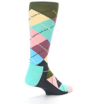 Image of Pastel Argyle Men's Dress Socks (side-1-back-21)