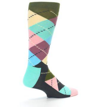 Image of Pastel Argyle Men's Dress Socks (side-1-back-22)