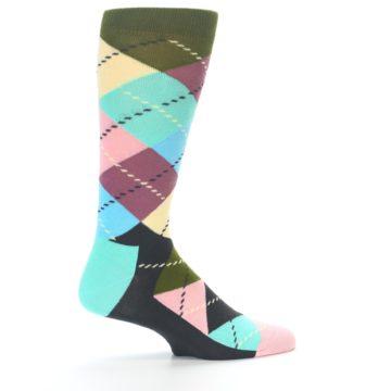 Image of Pastel Argyle Men's Dress Socks (side-1-23)