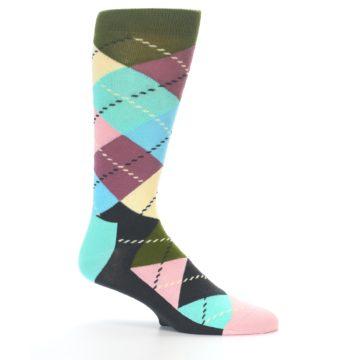 Image of Pastel Argyle Men's Dress Socks (side-1-25)