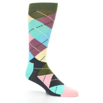 Image of Pastel Argyle Men's Dress Socks (side-1-26)