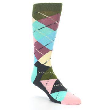 Image of Pastel Argyle Men's Dress Socks (side-1-27)