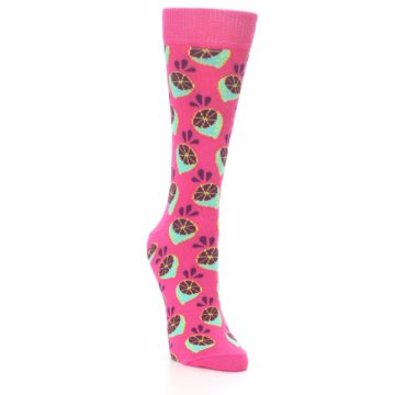 Image of Pink Limes Women's Dress Socks (side-1-front-02)