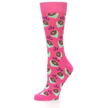 Image of Pink Limes Women's Dress Socks (side-2-09)