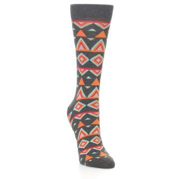 Image of Charcoal Temple Pattern Women's Dress Socks (side-1-front-02)