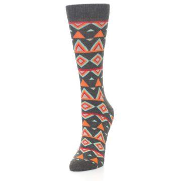 Image of Charcoal Temple Pattern Women's Dress Socks (side-2-front-07)