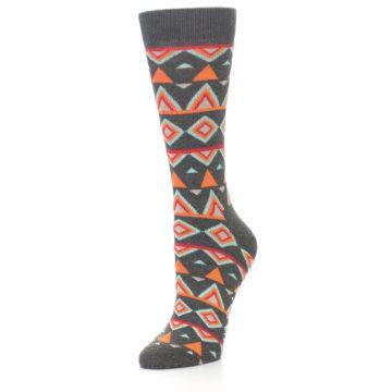 Image of Charcoal Temple Pattern Women's Dress Socks (side-2-front-08)