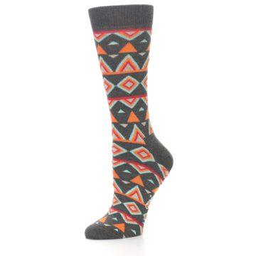 Image of Charcoal Temple Pattern Women's Dress Socks (side-2-09)