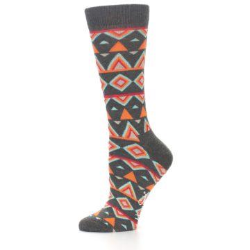 Image of Charcoal Temple Pattern Women's Dress Socks (side-2-10)