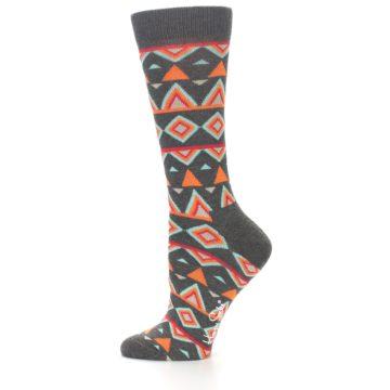 Image of Charcoal Temple Pattern Women's Dress Socks (side-2-11)