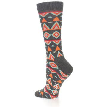 Image of Charcoal Temple Pattern Women's Dress Socks (side-2-13)