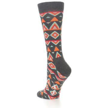 Image of Charcoal Temple Pattern Women's Dress Socks (side-2-back-14)