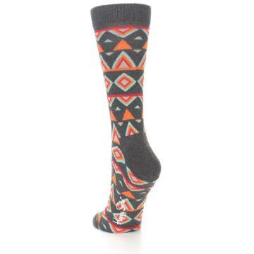 Image of Charcoal Temple Pattern Women's Dress Socks (side-2-back-15)