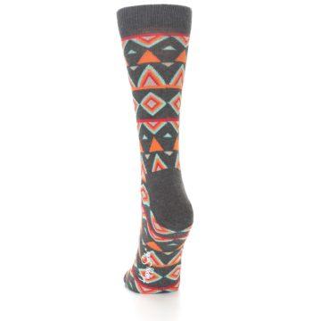 Image of Charcoal Temple Pattern Women's Dress Socks (side-2-back-16)