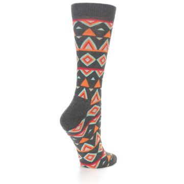 Image of Charcoal Temple Pattern Women's Dress Socks (side-1-back-21)