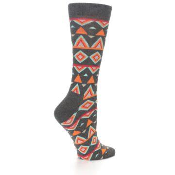 Image of Charcoal Temple Pattern Women's Dress Socks (side-1-back-22)