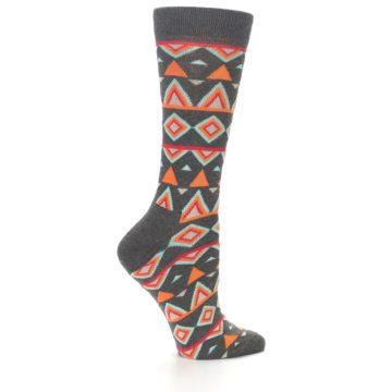 Image of Charcoal Temple Pattern Women's Dress Socks (side-1-23)