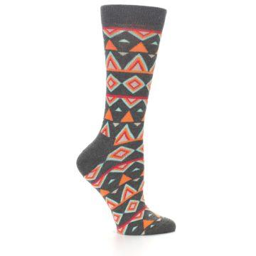 Image of Charcoal Temple Pattern Women's Dress Socks (side-1-24)