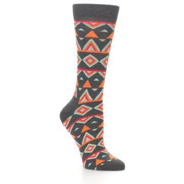 Image of Charcoal Temple Pattern Women's Dress Socks (side-1-26)