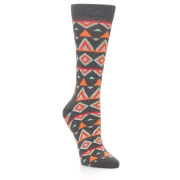Image of Charcoal Temple Pattern Women's Dress Socks (side-1-27)